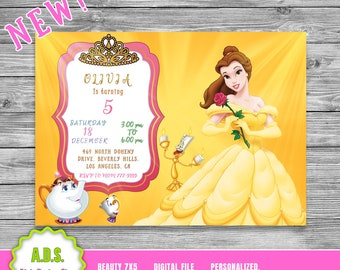 Belle invitation etsy princess belle invitation beauty and the beast invitation princess belle birthday princess birthday disney princess digital file filmwisefo