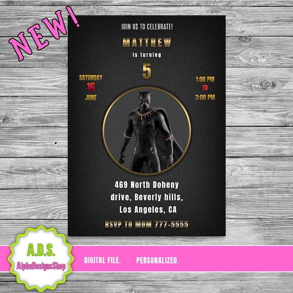 Black Panther Invitation With Free Thank You Card Birthday Etsy