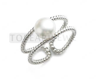 7.5-8mm Freshwater Pearls 925 Silver Twisted Ring  CDSFR117
