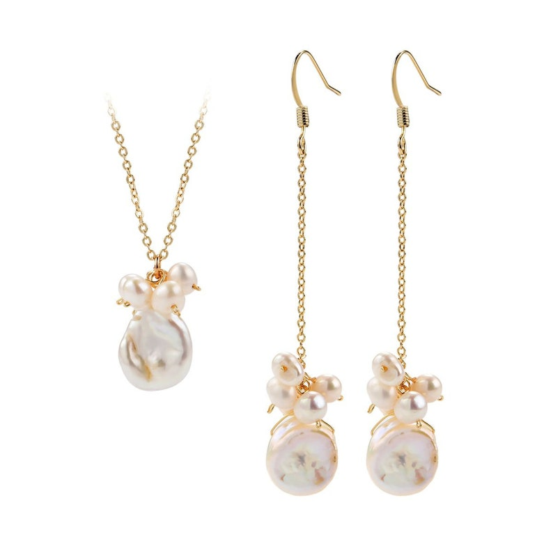White Baroque Pearl Pendant Necklace and Long Dangle Earrings Bridesmaid Jewelry Set CDPD462