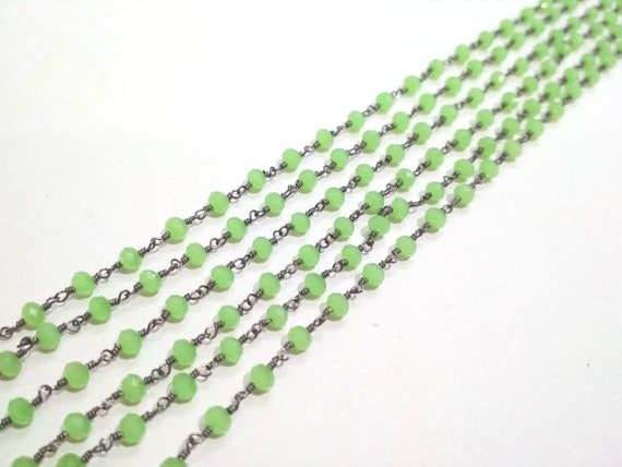10 Ft AAA Green Chalcedony Rosary Chain 6mm Hydro Quartz Beads Rondelle Faceted
