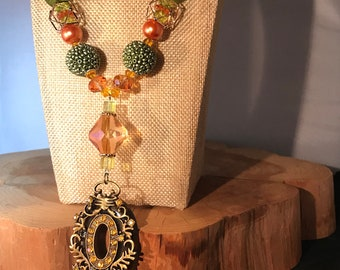 Chunky Green and Orange Pendant Necklace