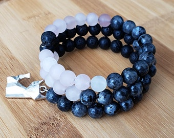 Rose Quartz Bracelet ∞ fox charm mala bracelet ∞ lava rock beads ∞ memory wire boho wrap lava bracelet ∞ rose meditation beads ∞ yoga gift
