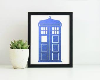 "BBC Doctor Who Tardis ""Gold Foil"" Print"