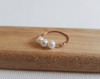 cc01f4da9 Triple Swarovski Pearl Ring, Rose Gold Filled, R925 Sterling Silver, 14K  Gold Filled, Thin Cute Tiny Ring, Bridesmaid Gift, White Pearl