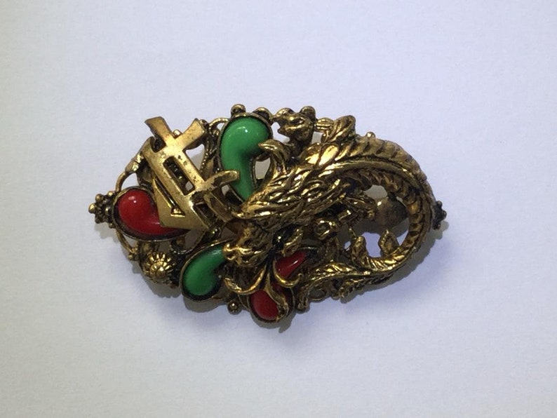 Fabulous Rare Art Deco Chinese Revival Czech Glass Jade and Coral Serpent Brooch Collectable Peking Glass Jewellery