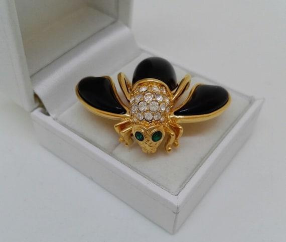 Vintage Joan Rivers Brooch Enamel and Crystal Bee