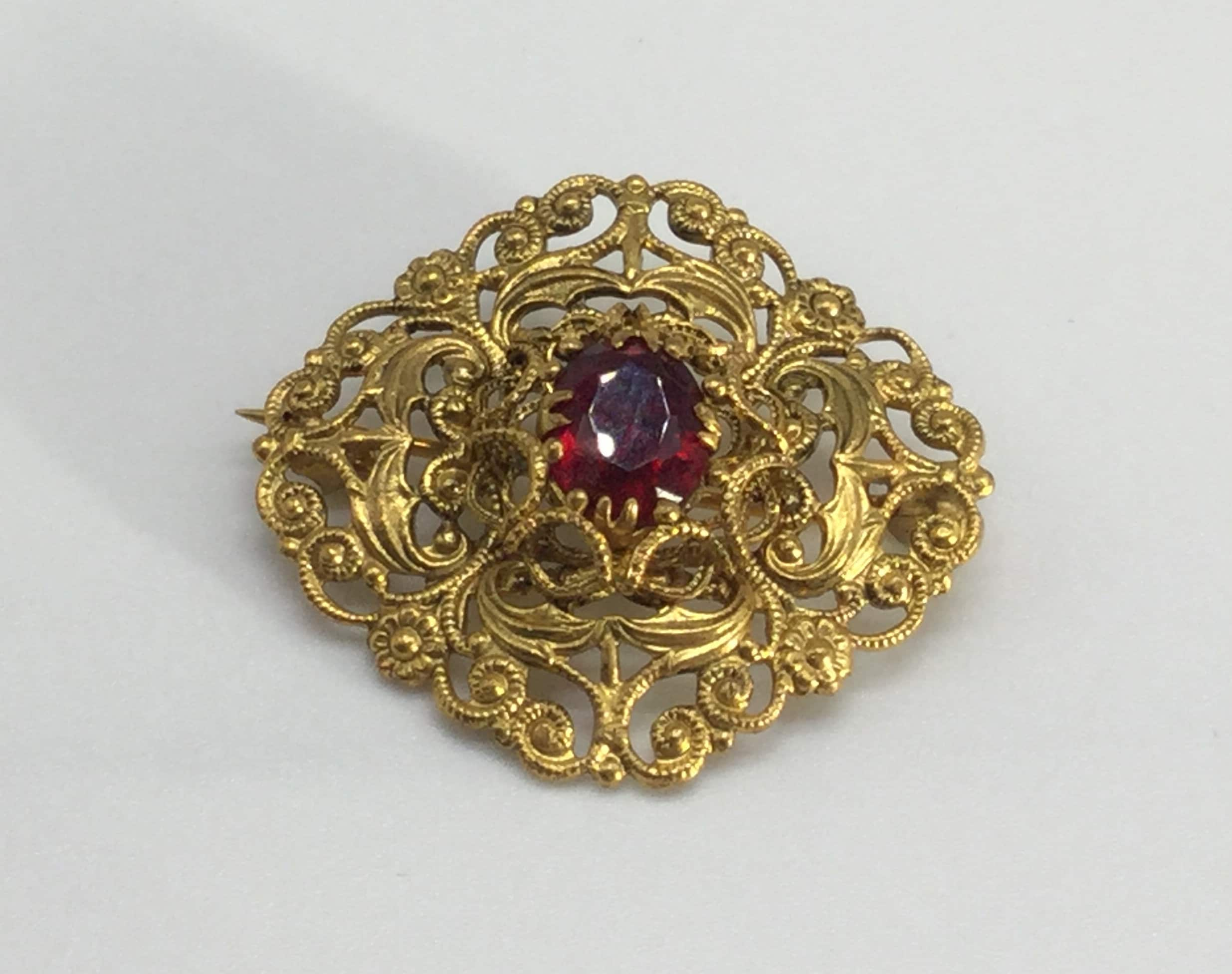 c4762ac19 Beautiful Bohemian Czech Ruby Red Glass and Gold Tone Filigree Art Deco  Brooch Vintage Retro Jewellery from the 1930's
