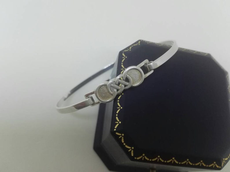 Super Sterling Silver Hinged Bangle with Celtic Knot Design Wedding Jewellery Birthday Gift