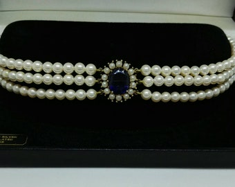 Vintage Sterling Silver Gilt 'Lotus Royale' Faux Pearl & Sapphire Choker 80's Wedding Jewellery September Birthstone 5th Wedding Anniversary