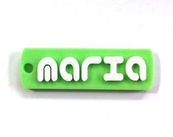 Maria  CUSTOM 3D PRINTED  Round Corner Name  Keychain (Keyring), Favor gifts, Kids /Teen bag, Adult bag, Personalized, White and Peak Green