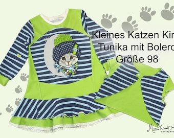 Small cat child. Sweet tunic with a reversible bolero that can be worn from both sides. In size 92-98. In strong neon green