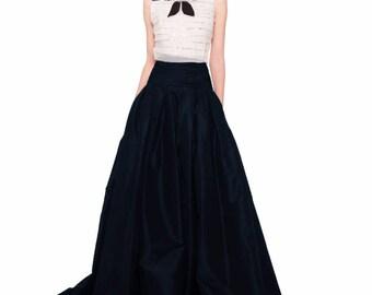 Floor length, taffeta skirt