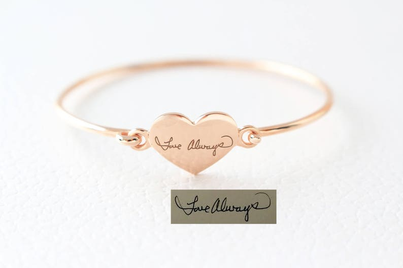 Sentimental Mother Gift Handwriting Bangle Keepsake Jewelry Custom Actual Handwriting Jewelry Engraved Signature Bracelet