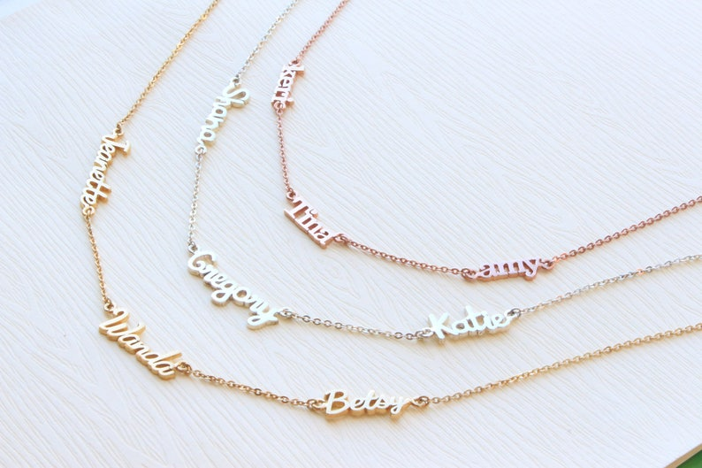 fcf019b78c3bc Triple Name Necklace - Double Name - Multiple Names - Custom Name Necklace  - Children Names - New Baby - Mom Necklaces - Christmas Gift