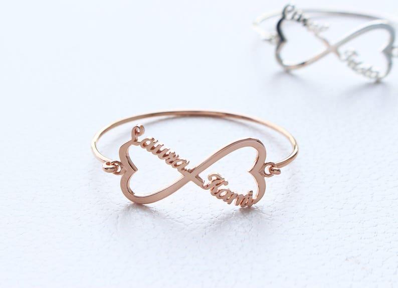 Heart Infinity Bracelet Infinity Name Bracelet Custom Name Bracelet Personalized name Bracelet Silver Infinity Bracelet