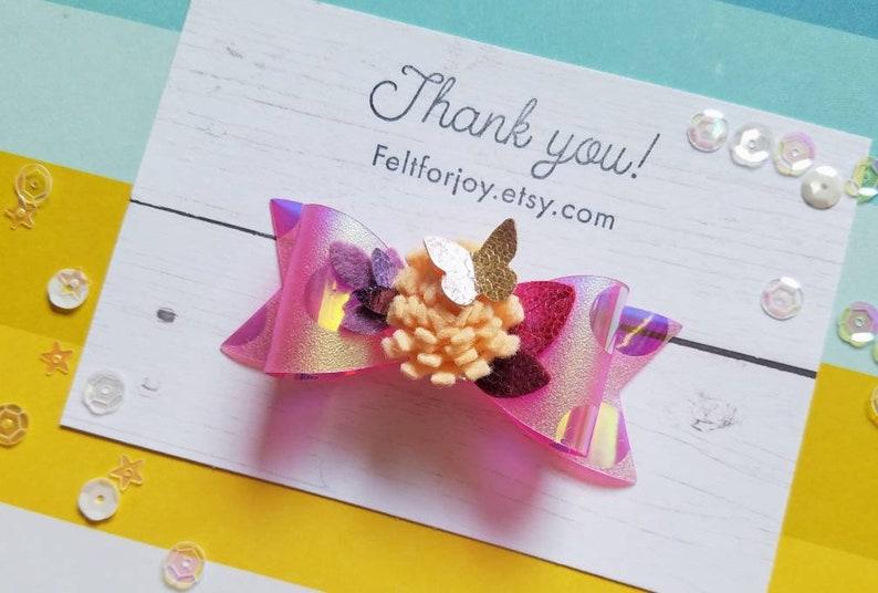 fall hair clip flower hair bow Butterfly hair bow purple hair bow faux leather hair bow felt flowers girl hair accessory