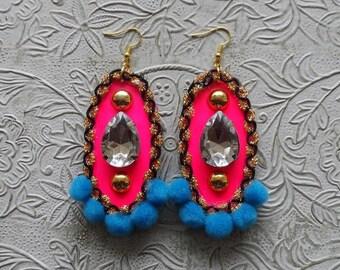 Pink, blue pom pom & rhinestone earrings