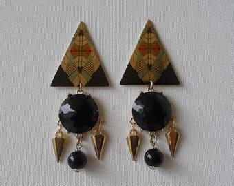 Abstract triangular spike earrings
