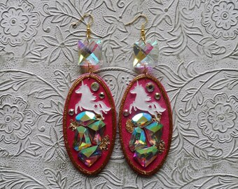 Pink white unicorn crystal squares ab rhinestone earrings