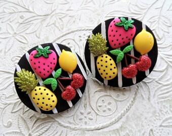 Fruity black & white stripe earrings
