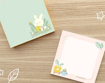 Cute Bunny and Adorable Houseplants Sticky Note, Post it Note