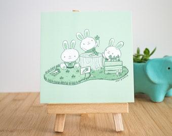 Cute Bunny Illustration Art Print - Nursery Illustration - Bunny Art Print