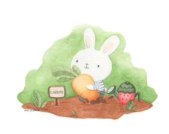 Bunny with carrot in the garden Watercolour Art Print