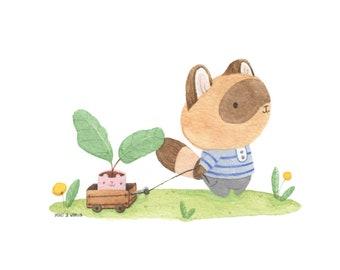 Raccoon with Plant Friend Watercolour Art Print