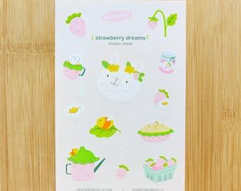 Strawberry Bunny Vinyl Sticker Sheet, Cute Bunny Stickers