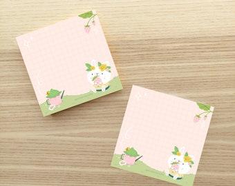 Cute Strawberry Bunny Sticky Note - Bunny Post it Note - Cute Sticky Notes