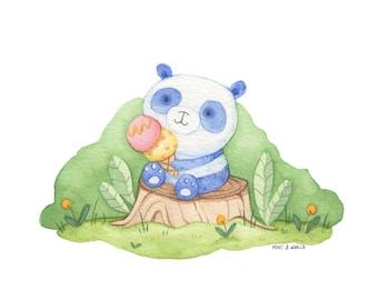 Whimsical Panda with ice-cream Art Print