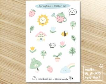 Springtime Planner Stickers, Cute Spring Sticker Sheet