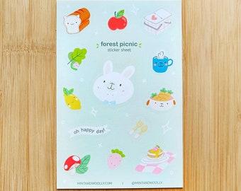 Cute Bunny Vinyl Sticker Sheet, Cute Forest Animal Picnic Stickers