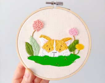 Animal Embroidery - Corgi with flowers Hand Embroidery Art - Embroidery Hoop Art