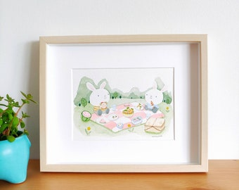Original Bunny Picnic in the Park Watercolour Art Print