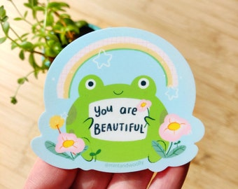 Frog Vinyl Sticker, You are beautiful Vinyl Sticker, Cute Froggo Sticker, Frog Stickers, Wellness Sticker, Mindfulness Gift