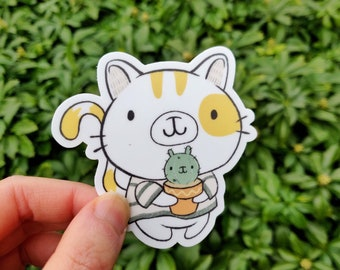 Cat Sticker - Laptop Sticker - Cute Vinyl Sticker - Cat with Cactus sticker