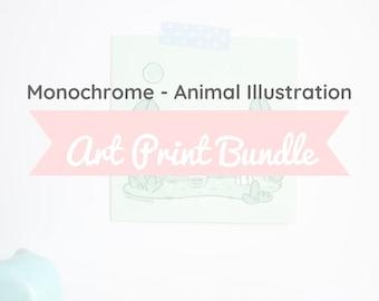 Animal Art Illustration Bundle Pack - Cute Animal Illustrations