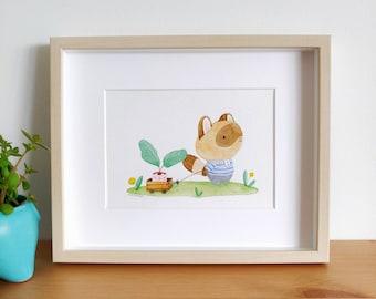 Original Raccoon with Plant Friend Watercolour Art Print