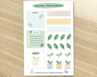 Plant Pals Planner Stickers, Cute Weekly Planner Stickers