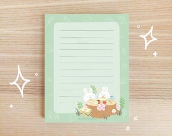 Cute Bunny Picnic Notepad - Ruled Notepad - Cute Forest Animal Memo Pad - Memo Pad Cute - Memo Pad Kawaii