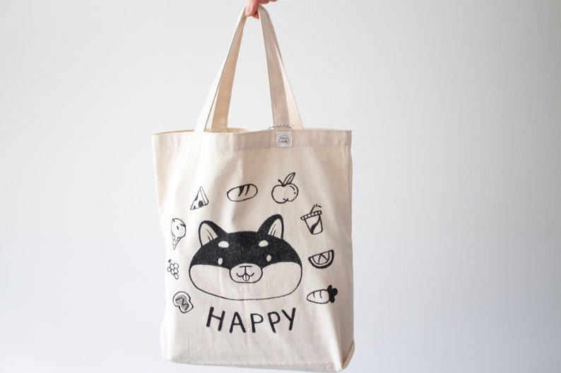 Happy Chubby Shiba Tote Bag  Grocery Canvas Tote Bag  image 0