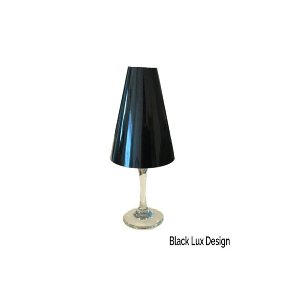 Wine Glass Lamp Shades Black Foil Table, Black Glass Lamp Shades