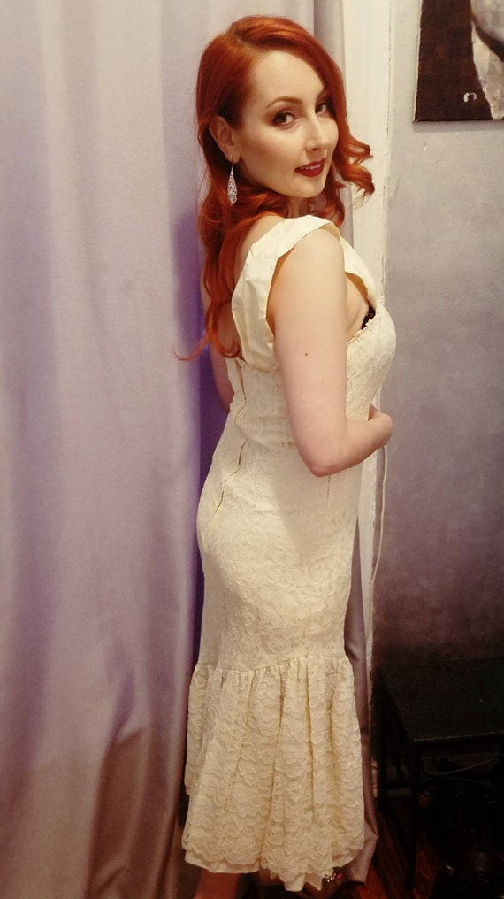 80s Lace Cocktail Wedding Dress
