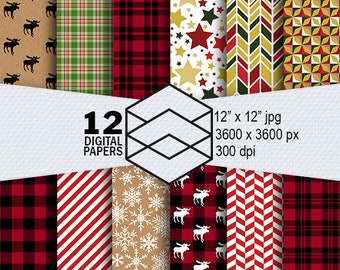 "Christmas Digital Paper Instant Download 12 Pattern Digital Paper Pack 300dpi  12""x12""  JPEG Files Scrapbooking Crafting"