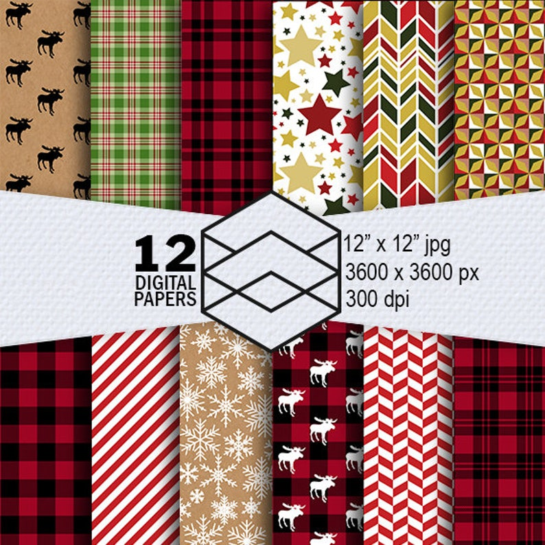 Christmas Digital Paper Instant Download 12 Pattern Digital image 0
