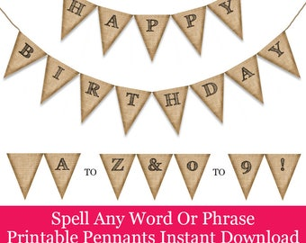 Printable Pennant Banners, Rustic Burlap Printable Pennant Banner, Spell any word by printing out the letters you need, A to Z and 0 to 9