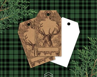 Rustic Christmas Deer Kraft Gift Tags, Rustic Holiday Gift Tags, Digital Printable, Download Print Graphics Now