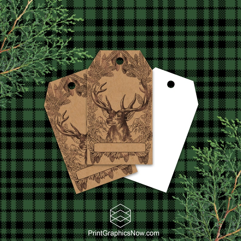 Rustic Christmas Deer Kraft Gift Tags Rustic Holiday Gift image 0